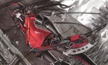 Konachan.com - 179833 armor black_eyes black_hair boots building long_hair pantyhose pixiv_fantasia weapon zhouran