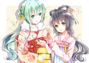 Konachan.com - 180006 2girls chinese_clothes hatsune_miku japanese_clothes kimono luo_tianyi tr_(52137) vocaloid