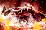 Konachan.com - 180805 butterfly conone flowers japanese_clothes kimono long_hair original red_eyes weapon white_hair