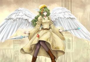 Konachan.com - 183009 aqua_eyes boots dress elona green_hair hat jure_of_healing mia_(yanaginiame) pantyhose spear weapon wings