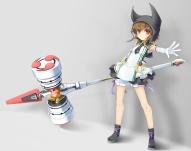 Konachan.com - 183931 boots brown_eyes brown_hair dress gloves hat original short_hair wapokichi weapon