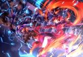 Konachan.com - 184228 blue_hair bodysuit city dress levi_the_slasher magic pink_eyes red_hair sterne_the_destructor thighhighs twintails weapon white_hair