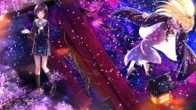 Konachan.com - 185272 cherry_blossoms hanayamata hannah_n._fontanstand japanese_clothes kimono seifuku sekiya_naru swordsouls
