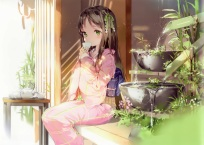 Konachan.com - 185732 anmi anthropomorphism blush brown_hair drink green_eyes japanese_clothes kimono long_hair original scan
