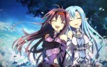 Konachan.com - 185994 2girls aqua_hair armor blush clouds konno_yuuki long_hair pointed_ears sky sword_art_online yuuki_asuna yuuki_tatsuya