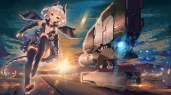 Konachan.com - 186117 aircraft blonde_hair breasts cleavage fangxiang_cuoluan green_eyes mechagirl navel original short_hair tail thighhighs