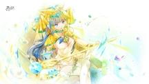 Konachan.com - 186785 blue_eyes blue_hair choker hat heco_(mama) isis_(p&d) long_hair puzzle_&_dragons staff watermark