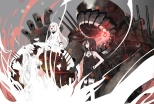Konachan.com - 188933 battleship-symbiotic_hime black_hair kantai_collection midway_hime northern_ocean_hime pachi_8 red_eyes white_hair