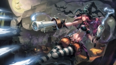 Konachan.com - 189797 animal bat cross halloween hat iorlvm league_of_legends long_hair miss_fortune moon navel pantyhose pumpkin red_hair shorts wings witch_hat