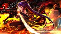 Konachan.com - 189857 brown_hair dragon fire katana log_horizon long_hair male ponytail purple_eyes purple_hair shiroe short_hair sword swordsouls weapon wristwear