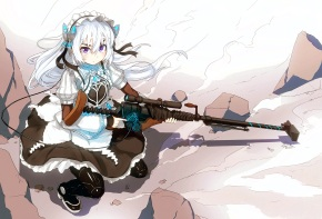 Konachan.com - 189970 chaika_trabant dress gun headdress hitsugi_no_chaika lolita_fashion long_hair nosuku purple_eyes thighhighs weapon white_hair