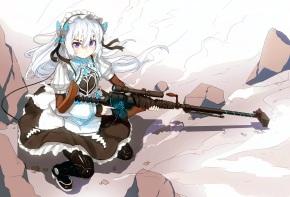 Konachan.com - 189970 chaika_trabant dress gun headdress hitsugi_no_chaika lolita_fashion long_hair nosuku purple_eyes thighhighs weapon white_hair