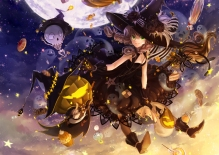 Konachan.com - 190220 braids cake candy cross dress food gloves halloween hat huazha01 long_hair moon necklace night original pumpkin skull stars twintails witch_hat