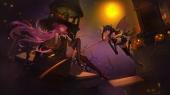 Konachan.com - 190593 2girls building dress gloves headband long_hair night pink_eyes pink_hair pumpkin red_eyes ribbons signed skirt sky stars stockings wings witch
