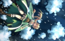 Konachan.com - 190776 animal bird blonde_hair leafa long_hair pointed_ears sky sword_art_online thighhighs yuuki_tatsuya