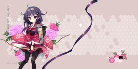 Konachan.com - 191108 black_hair bow_(weapon) flowers kantai_collection lolita_fashion mitha pantyhose ryuuhou_(kancolle) weapon