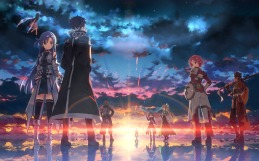 Konachan.com - 191118 lisbeth long_hair male pina ponytail red_hair short_hair sky sunset sword water weapon wings