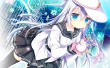 Konachan.com - 191252 blue_eyes hat hibiki_(kancolle) kantai_collection long_hair seifuku shirogane_hina skirt snow snowman thighhighs verniy_(kancolle) white_hair