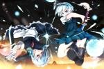 Konachan.com - 191335 katana knife maid myon red_eyes short_hair skirt sword touhou weapon white_hair