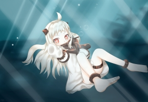 Konachan.com - 191347 axelcre barefoot blush bubbles dress gloves horns kantai_collection loli northern_ocean_hime red_eyes white_hair