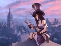 Konachan.com - 191425 black_hair breasts caitlyn cleavage dress gloves gun hat kneehighs league_of_legends tsuaii watermark weapon