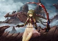 Konachan.com - 191566 dragon navel panties pixiv_fantasia scythe see_through tyappygain underwear weapon