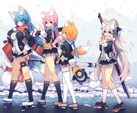 Konachan.com - 191759 blue_eyes blue_hair blush foxgirl gray_hair green_eyes kneehighs long_hair mamuru original pink_hair red_eyes scarf short_hair snow sword tail weapon