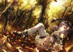 Konachan.com - 192140 dress forest leaves long_hair purple_eyes purple_hair thighhighs tree twintails vima vocaloid yuzuki_yukari