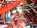 Konachan.com - 192212 building cherry_blossoms green_eyes green_hair hatsune_miku japanese_clothes kimono levi9452 long_hair petals umbrella vocaloid