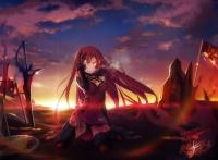 Konachan.com - 193237 blood choker clouds elbow_gloves elesis_(elsword) elsword ha-gha long_hair red_eyes red_hair signed sky sunset sword thighhighs weapon