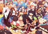 Konachan.com - 193254 animal animal_ears black_hair blue_hair breasts cat catgirl chocolate cleavage collar food long_hair mamuru original tail thighhighs underboob