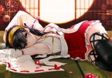 Konachan.com - 193346 black_hair breasts brown_eyes giba_(out-low) haruna_(kancolle) headband japanese_clothes kantai_collection long_hair miko petals skirt thighhighs