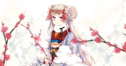 Konachan.com - 193994 ceru flowers japanese_clothes kimono long_hair original pink_eyes