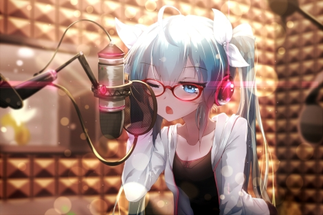 Konachan.com - 195308 aqua_eyes aqua_hair glasses hatsune_miku headphones long_hair microphone ribbons sen_ya twintails vocaloid wink