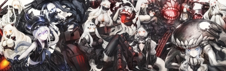 yande.re 304310 airfield_hime bikini_top cleavage destroyer_hime dress heels horns infukun kantai_collection midway_hime seaport_hime seifuku thighhighs wo-class