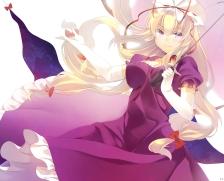 Konachan.com - 177580 blonde_hair dress elbow_gloves long_hair niwashi_(yuyu) purple_eyes touhou umbrella yakumo_yukari