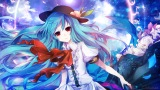 Konachan.com - 182887 blue_hair chikashige hat hinanawi_tenshi long_hair red_eyes signed touhou