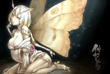 Konachan.com - 184234 breasts cleavage japanese_clothes kimono original regura short_hair white_hair wings