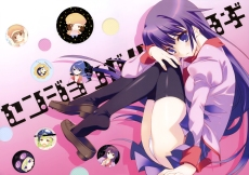 Konachan.com - 184385 bakemonogatari blush long_hair oshino_shinobu panties purple_hair santa_matsuri scan sengoku_nadeko senjougahara_hitagi thighhighs underwear