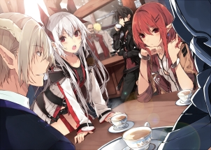 Konachan.com - 184494 armor black_hair blonde_hair blush brown_eyes chain drink gloves long_hair male necklace paper red_eyes red_hair ribbons short_hair shorts white_hair