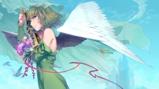Konachan.com - 184588 animal bird blue_eyes dress drink flowers green_hair idolmaster idolmaster_cinderella_girls nemeko ribbons short_hair takagaki_kaede wings