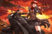 Konachan.com - 184958 animal bird brown_eyes brown_hair gloves kfr motorcycle original scarf skirt sunset