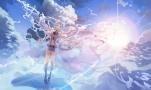 Konachan.com - 188900 blue_eyes blue_hair boots bzerox choker clouds feathers hatsune_miku kneehighs long_hair navel sky twintails vocaloid