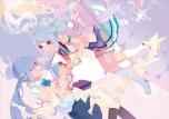 Konachan.com - 189350 2girls blue_eyes blue_hair hassan_(sink916) hatsune_miku microphone paper twintails vocaloid