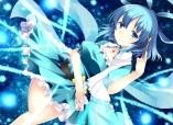 Konachan.com - 190273 ajiriko blue blue_eyes blue_hair choker dress kaku_seiga ofuda short_hair touhou