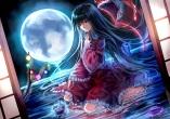 Konachan.com - 190280 black_hair brown_eyes dress houraisan_kaguya long_hair moon touhou uu_uu_zan