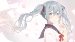 Konachan.com - 190295 blue_eyes blue_hair hatsune_miku long_hair nagitoki petals seifuku twintails vocaloid