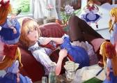 Konachan.com - 190392 apple banssee blonde_hair blue_eyes book bow doll dress flowers headband kneehighs pantyhose paper puppet shanghai_doll short_hair tie touhou