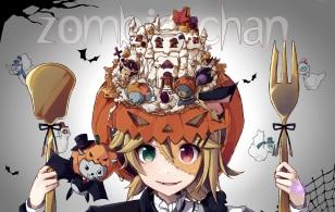 Konachan.com - 190466 animal bat bicolored_eyes blonde_hair bow fang halloween headdress kagamine_len kagamine_rin nou pumpkin short_hair vocaloid