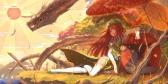 Konachan.com - 190471 animal bird chinese_dress dragon dress hat hong_meiling hourai_no_hangentsuki red_eyes red_hair thighhighs touhou tree umbrella